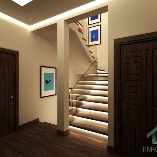 Дизайн лестницы в таунхаусе