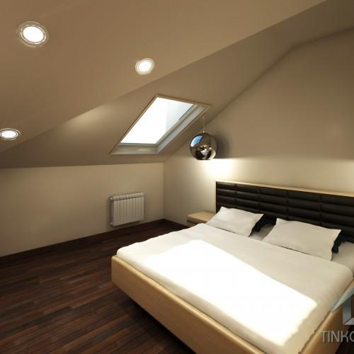 Интерьер гостевой спальни на мансардном этаже
