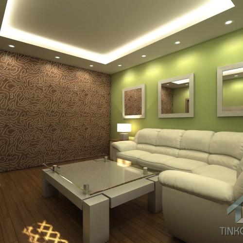 Интерьер гостиной с панелями  LETO