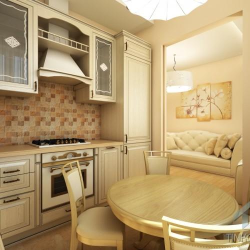 Интерьер кухни с раздвижной перегородкой