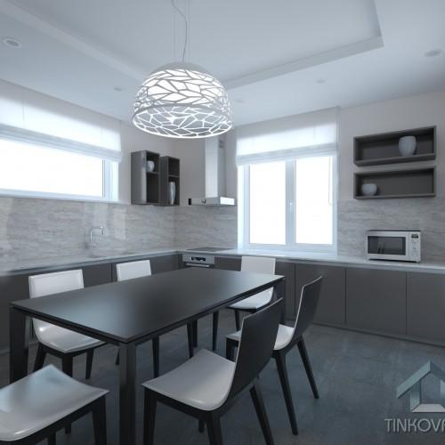 Интерьер кухни-столовой в коттеже