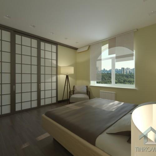 Интерьер спальни с раздвижной перегородкой