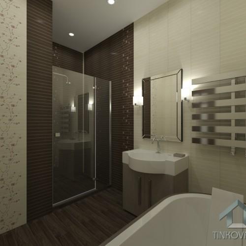 Интерьер ванны с душевой кабиной