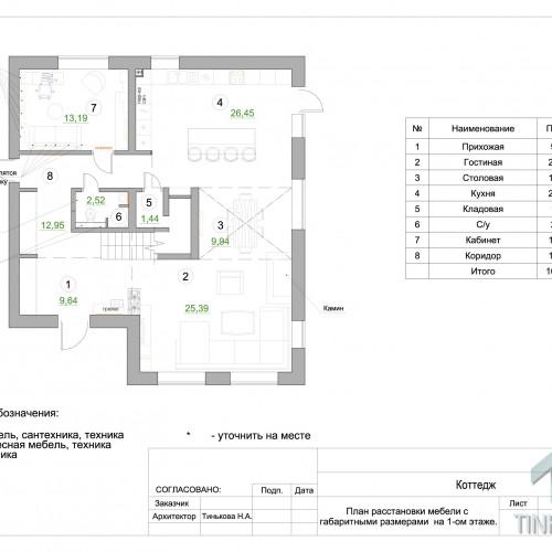 План 1-ого этажа с расстановкой мебели