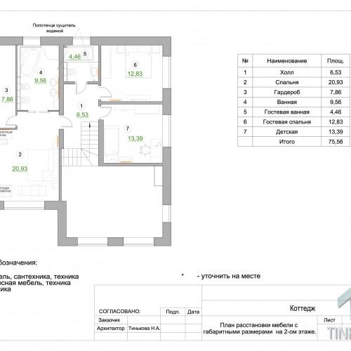 План 2-ого этажа с расстановкой мебели
