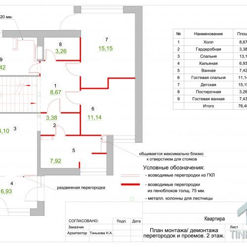 План возводимых перегородок 2 этаж