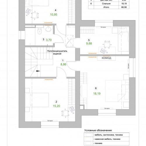План второго этаж с расстановкой мебели